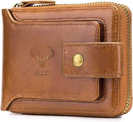 Men/'s Genuine Leather Bifold Wallet Vintage Cowhide With Front Zipper Pocket