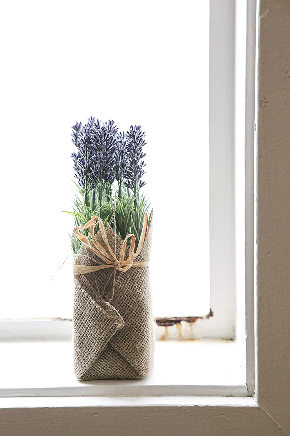 Burlap wrapped faux lavender bundle for French farmhouse decor and European country style interiors.