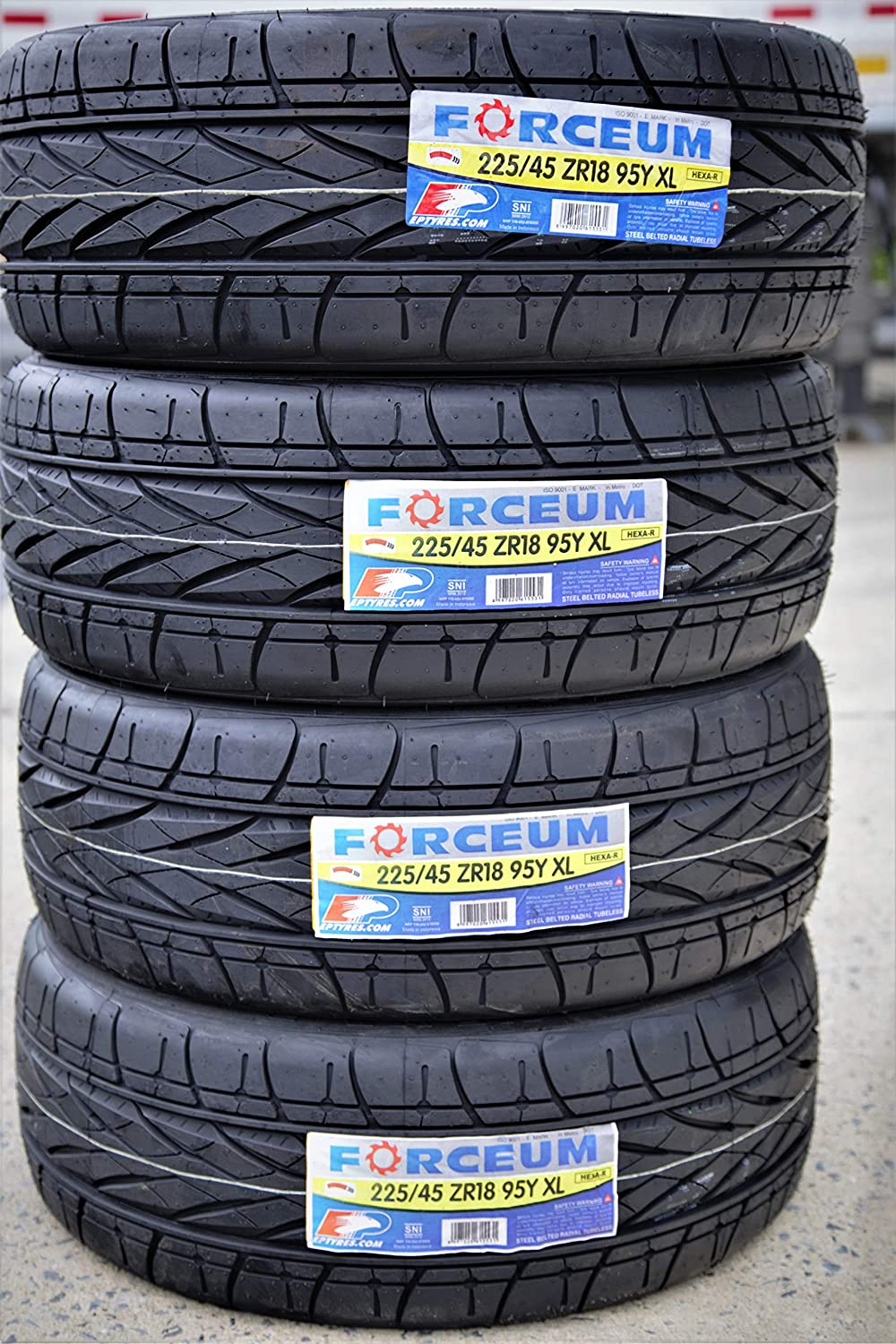 Set of 4 FOUR Forceum Hexa-R High Performance All-Season Radial Tires-225//45ZR18 95Y XL