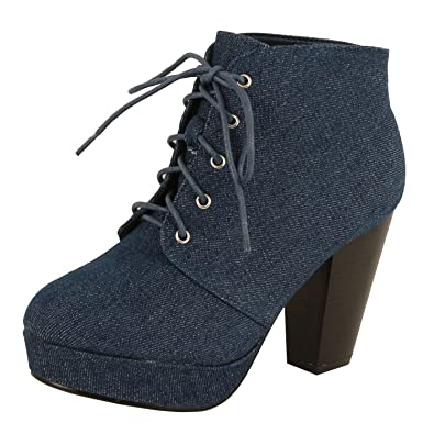 Women's Comfy Low Chunky Heel Lace Up Short Ankle Boots