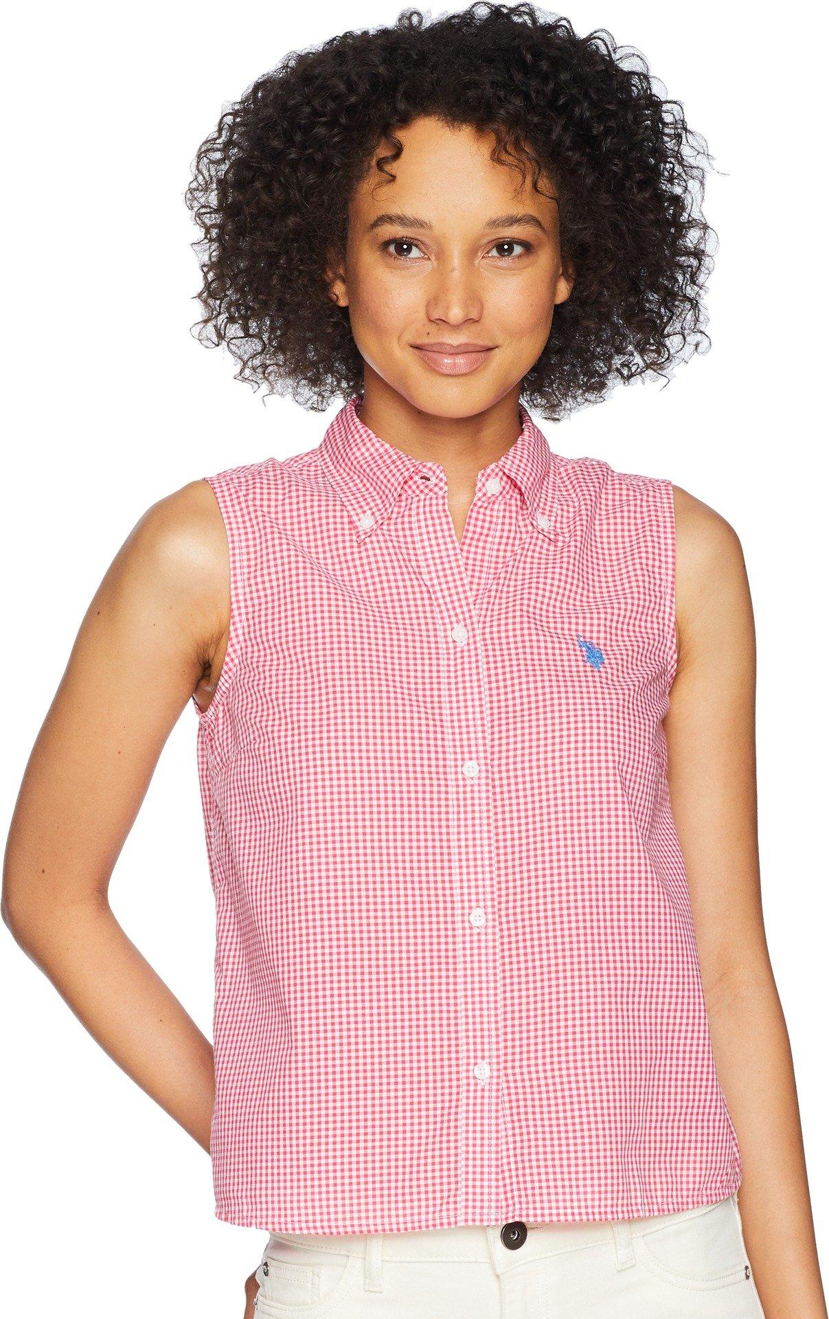 US Polo Assn Women's Sleeveless Poplin Shirt, Rose Tropica Bmll, M