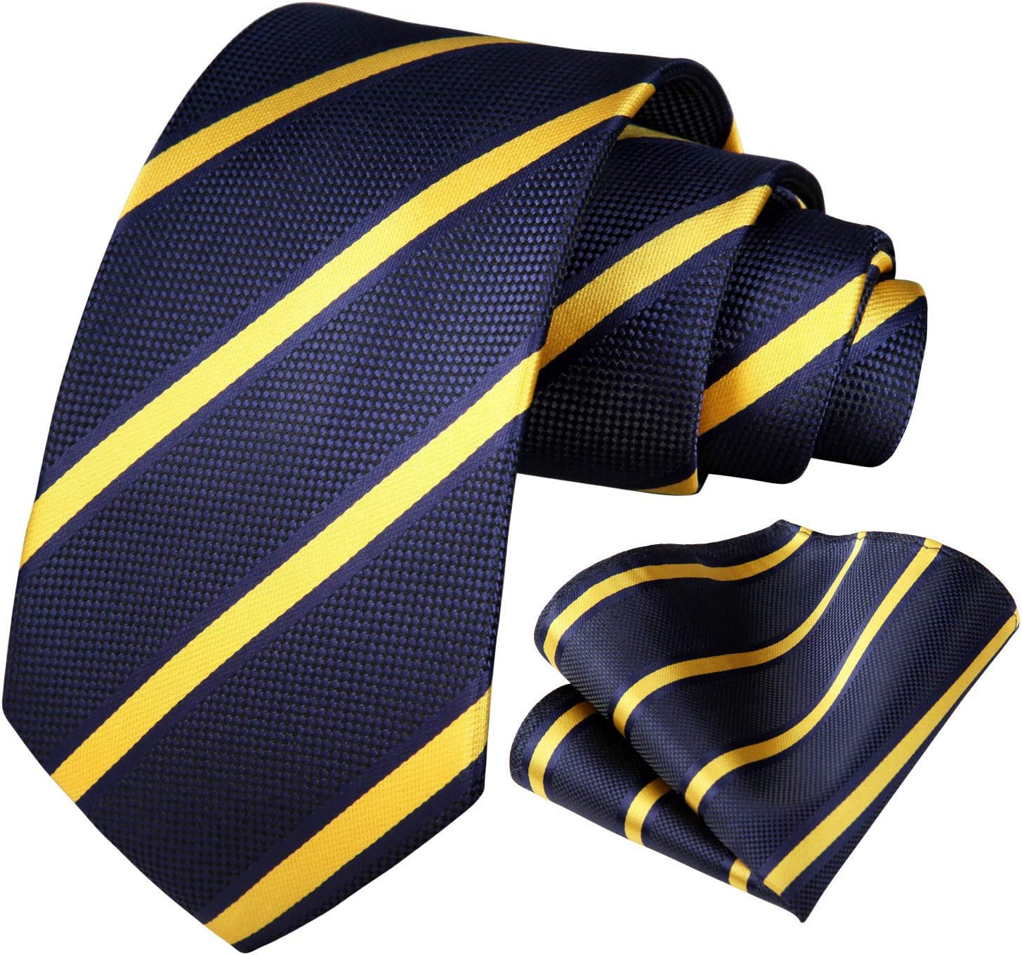 HISDERN Striped Tie for Men Handkerchief Woven Classic Collegiate Mens Necktie /& Pocket Square Set Orange