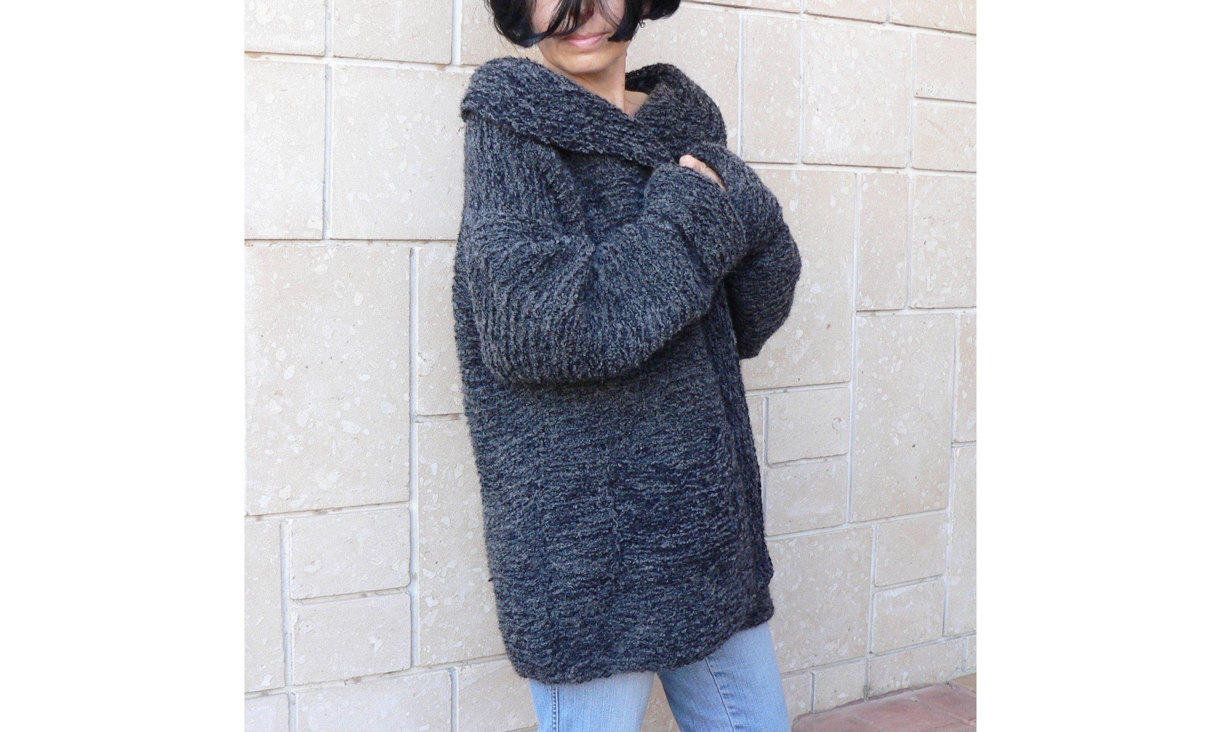 Women bulky cozy coat cardigan & pockets