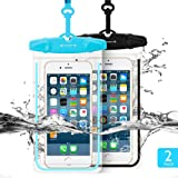 """Amazon Price History for:Universal Waterproof Case FITFORT 2 Pack Universal Dry Bag/ Pouch Clear Sensitive PVC Touch Screen for iPhone X 8 7 6S Plus Galaxy S8 S7 Edge S6 S5 S4 Note 4 3 LG G5 G3 Up To 5.5 """"(Black+Blue)"""