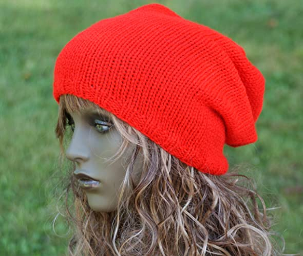 c641df4ad Bright Red Slouchy Beanie Hat, Tam, Dreads, Fall Hat: Amazon.co.uk ...