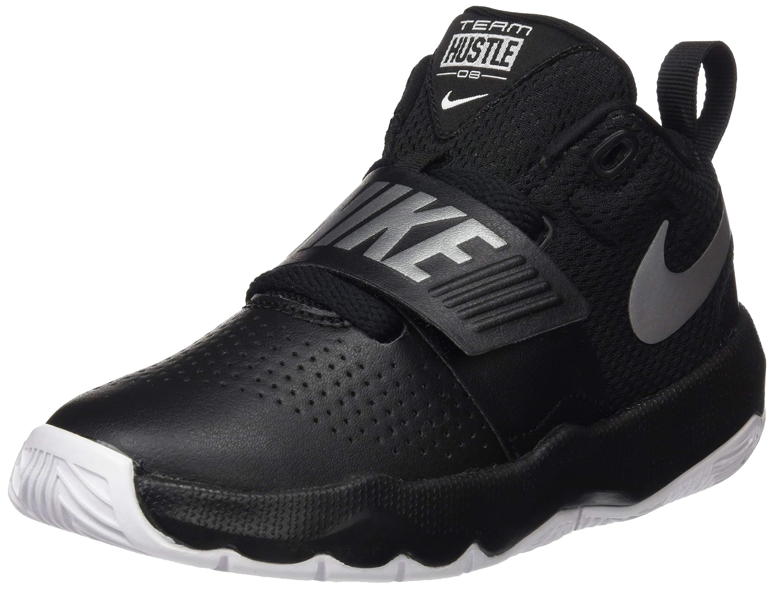 Nike Boys' Team Hustle D 8 (PS) Basketball Shoe, Black/Metallic Silver-White, 2.5Y Regular US Little Kid