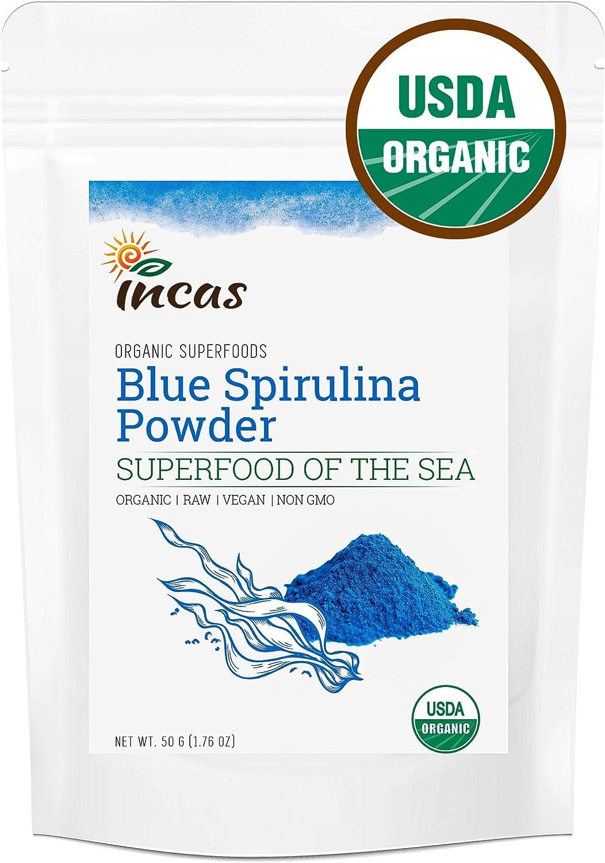 Incas Premium USDA Organic Blue Spirulina Powder 50g (1.77oz / 25 Servings) All Natural Blue Food Coloring Superfood Supplement Neutral Taste