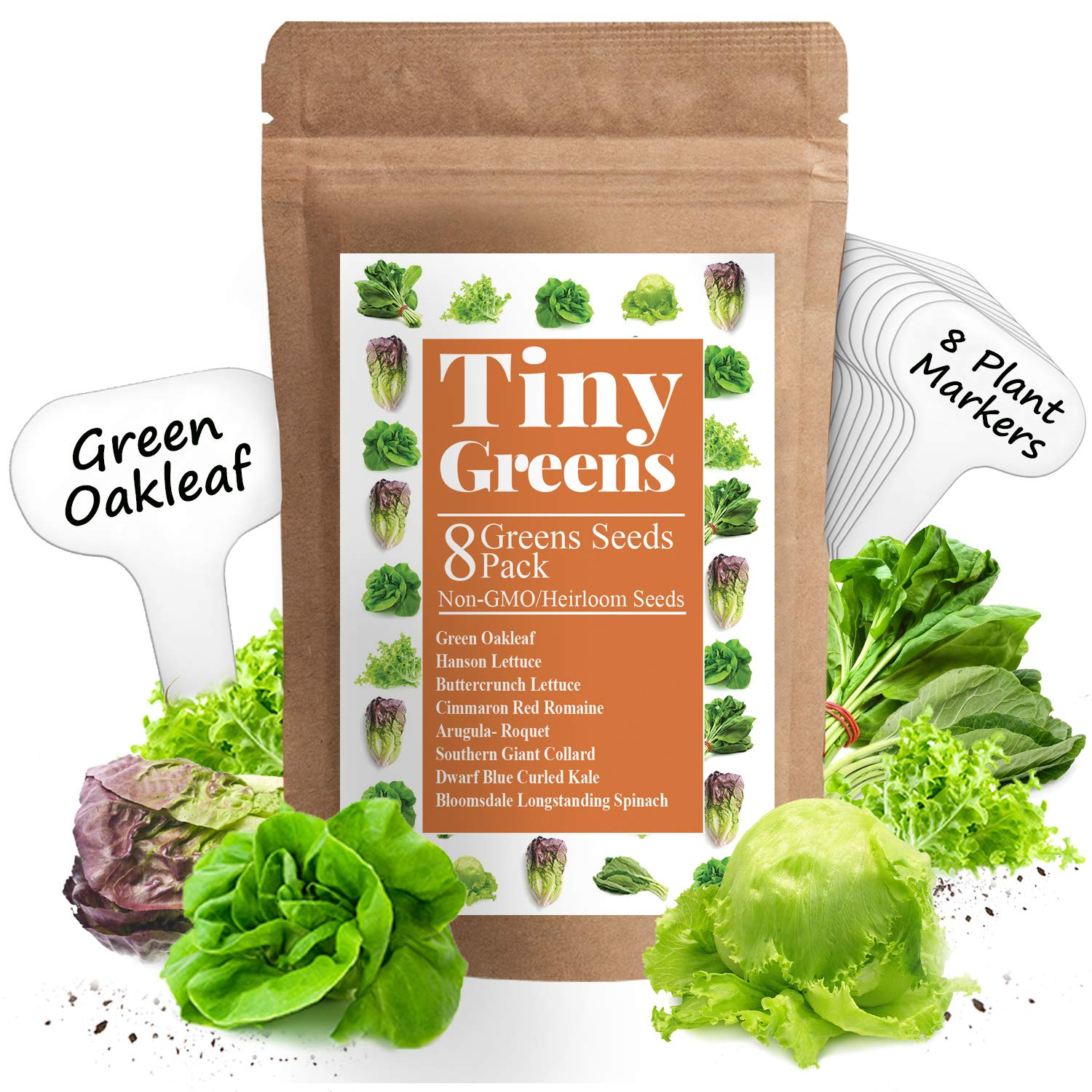Heirloom Lettuce & Leafy Greens Seeds - Romaine, Kale, Spinach, Butterhead, Oak, Arugula, Collard Greens   1200 Seeds   Non Gmo Seeds For Planting   Hydroponic Home Vegetable Garden   Microgreen Seeds by Tiny Greens