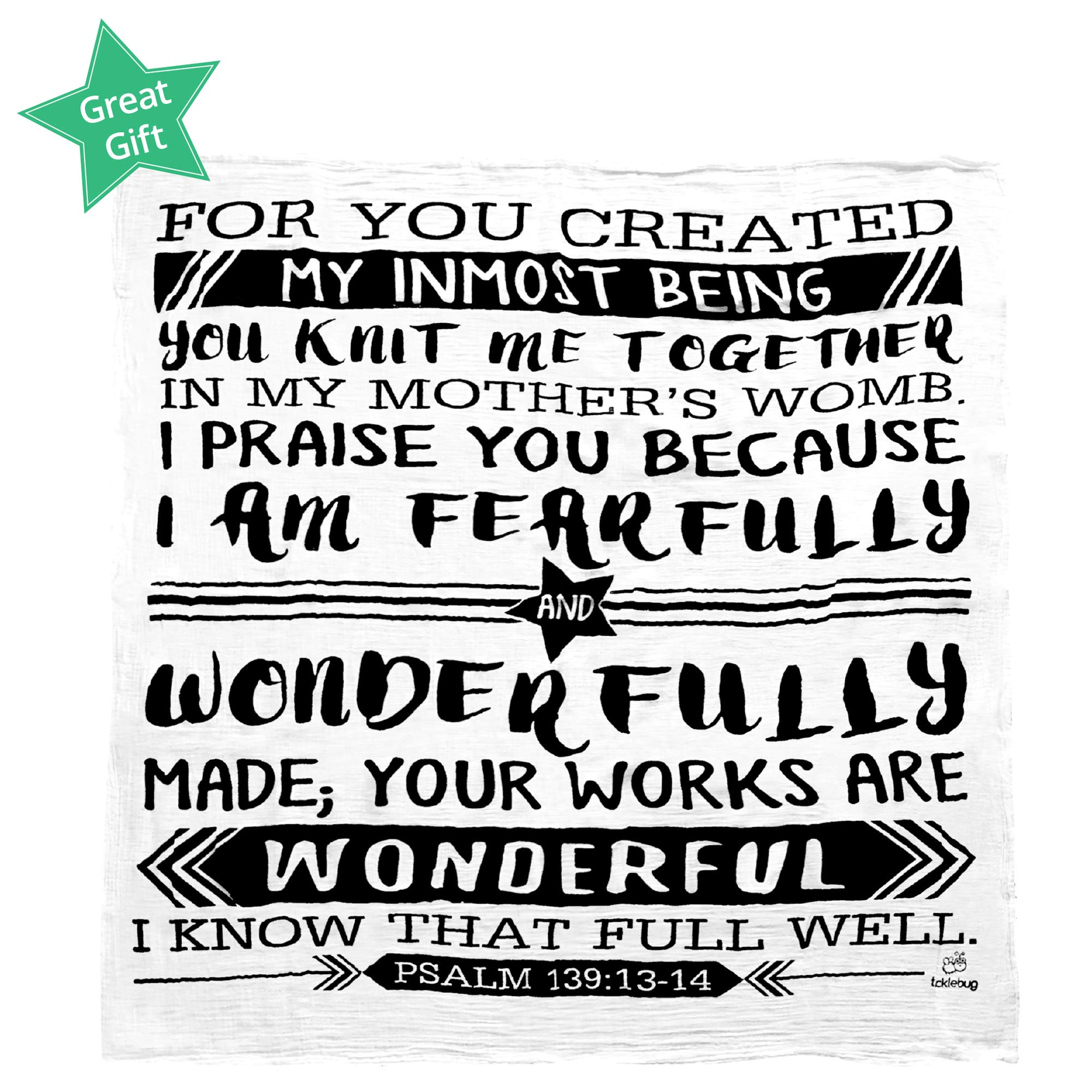Muslin Swaddle Blanket for Baby | Perfect Baby Shower Gift | 100% Organic Cotton Boutique Quality Newborn Blanket | Psalm 139:13-14 by Fayfaire