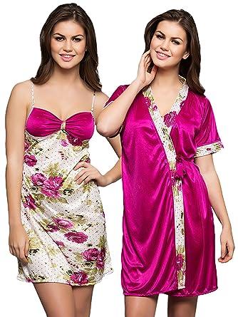Clovia Women s Printed Short Nighty   Robe Set (NS0312P22 Pink Small Medium) 88fb67db7