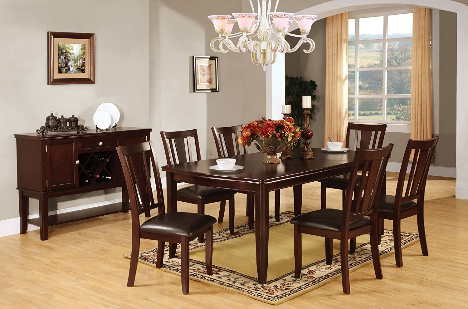 Amazon.com   Furniture Of America Anlow 7 Piece Dining Table Set With  18 Inch Expandable Leaf, Espresso   Table U0026 Chair Sets