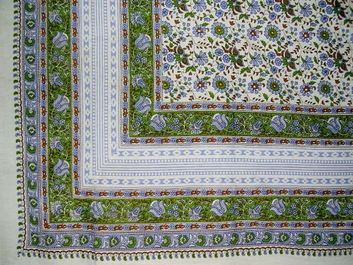 Floral Print Indian Tapestry Cotton Spread 106'' x 72'' Twin Green