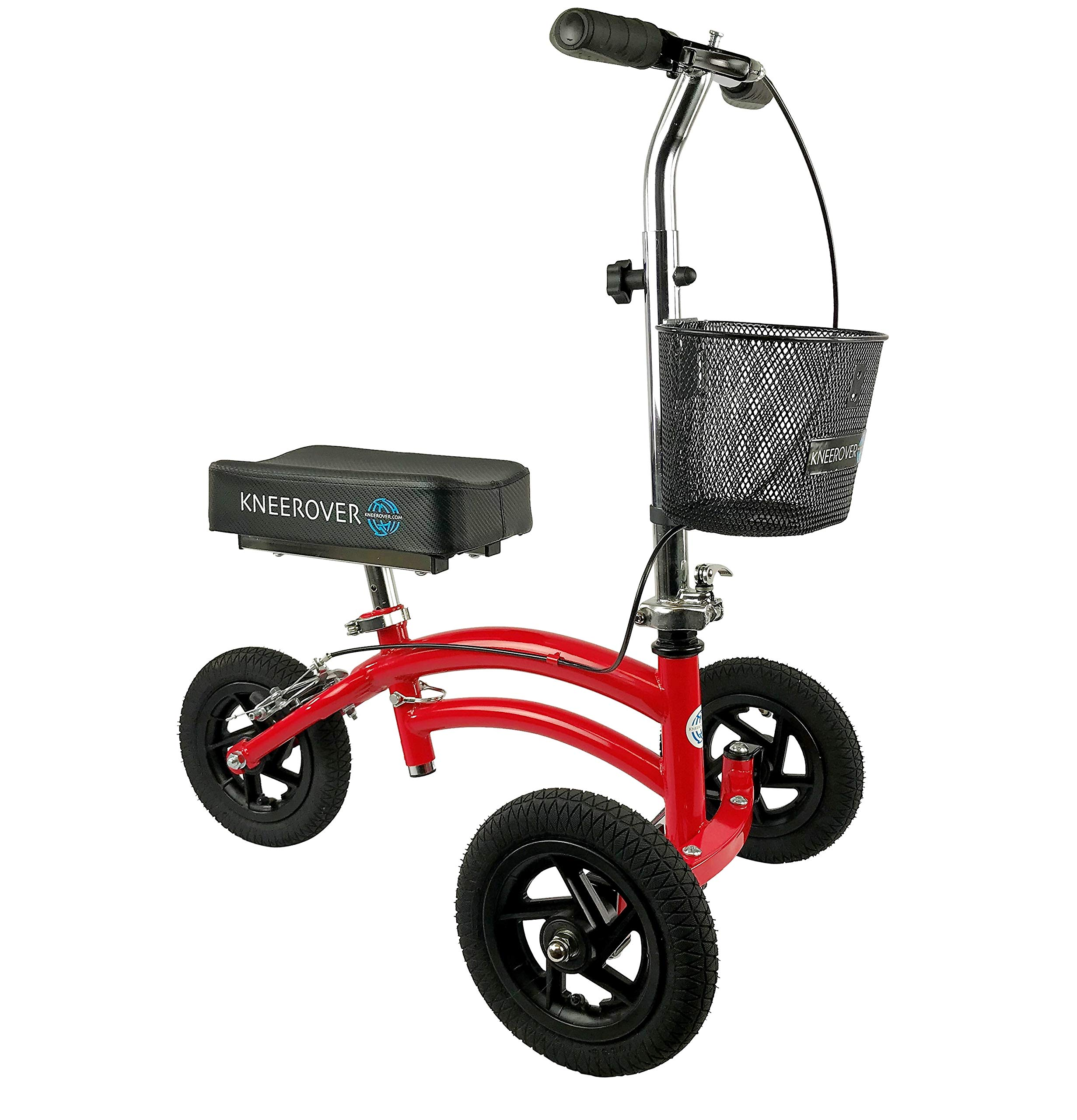 Small Petite Adult All Terrain KneeRover Jr - Steerable Knee Walker Knee Scooter Crutches Alternative in Red by KneeRover