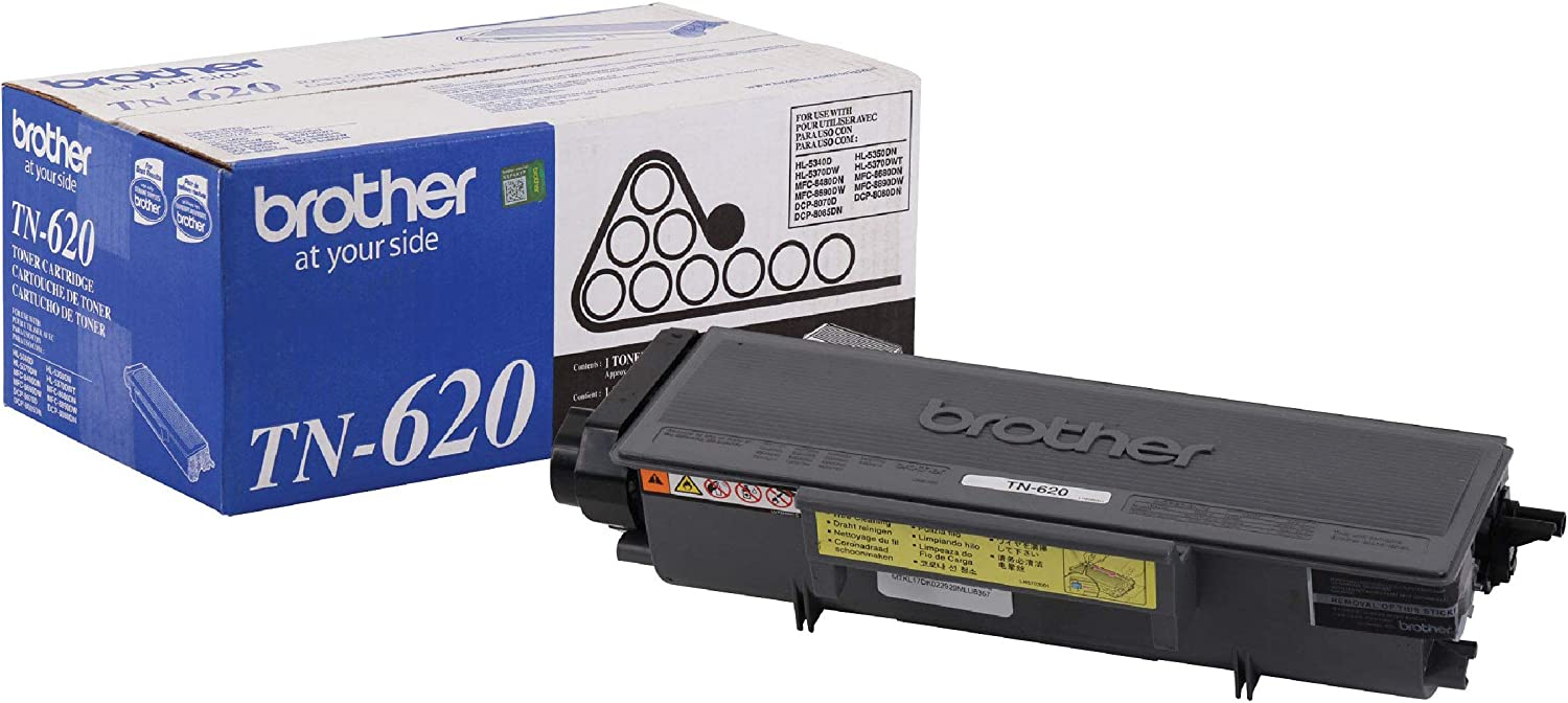 Brother TN-620 DCP-8080 8085 HL-5340D 5350 5370 MFC-8480 8680 8690 8890 Toner Cartridge (Black) in Retail Packaging, 1 Size