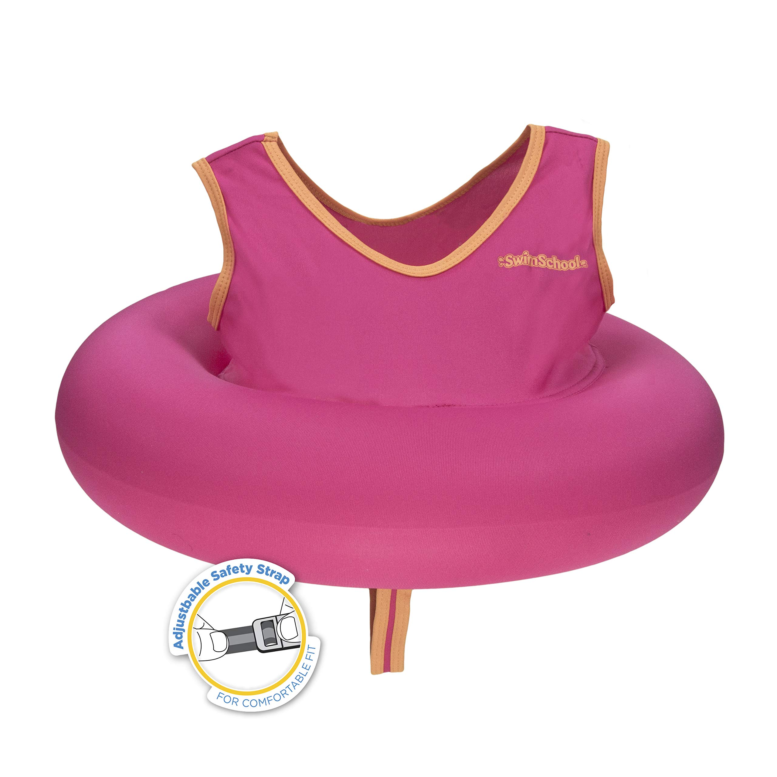 SwimSchool Deluxe TOT Swim Trainer Vest, Heavy Duty, Inflatable Tube with Adjustable Safety Strap, 2-4 Years, Raspberry/Pink by SwimSchool (Image #4)