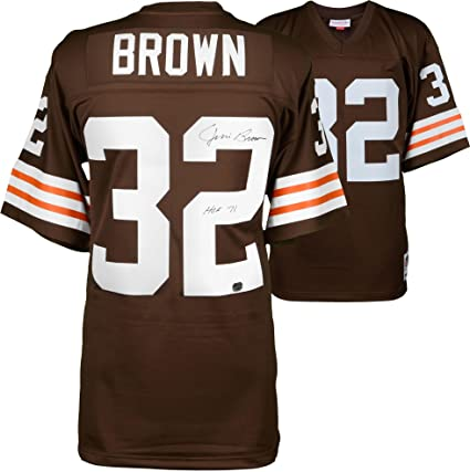 huge discount d0e00 e3141 Jim Brown Cleveland Browns Autographed Mitchell & Ness ...