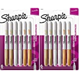 Sharpie Metallic Permanent Markers, Fine Point, Assorted Metallic, 6 Count Pack of 2