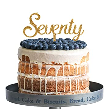 Amazon Seventy Happy Birthday Cake Topper Gold Glitter Acrylic