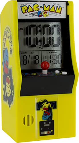 Paladone Pac Man Alarm Plays Official Game Sounds Use Arcade Buttons to Set Clock LCD Battery Powered Iconic Retro Design, 8 x 10 x 16 cm, Multi-Colour