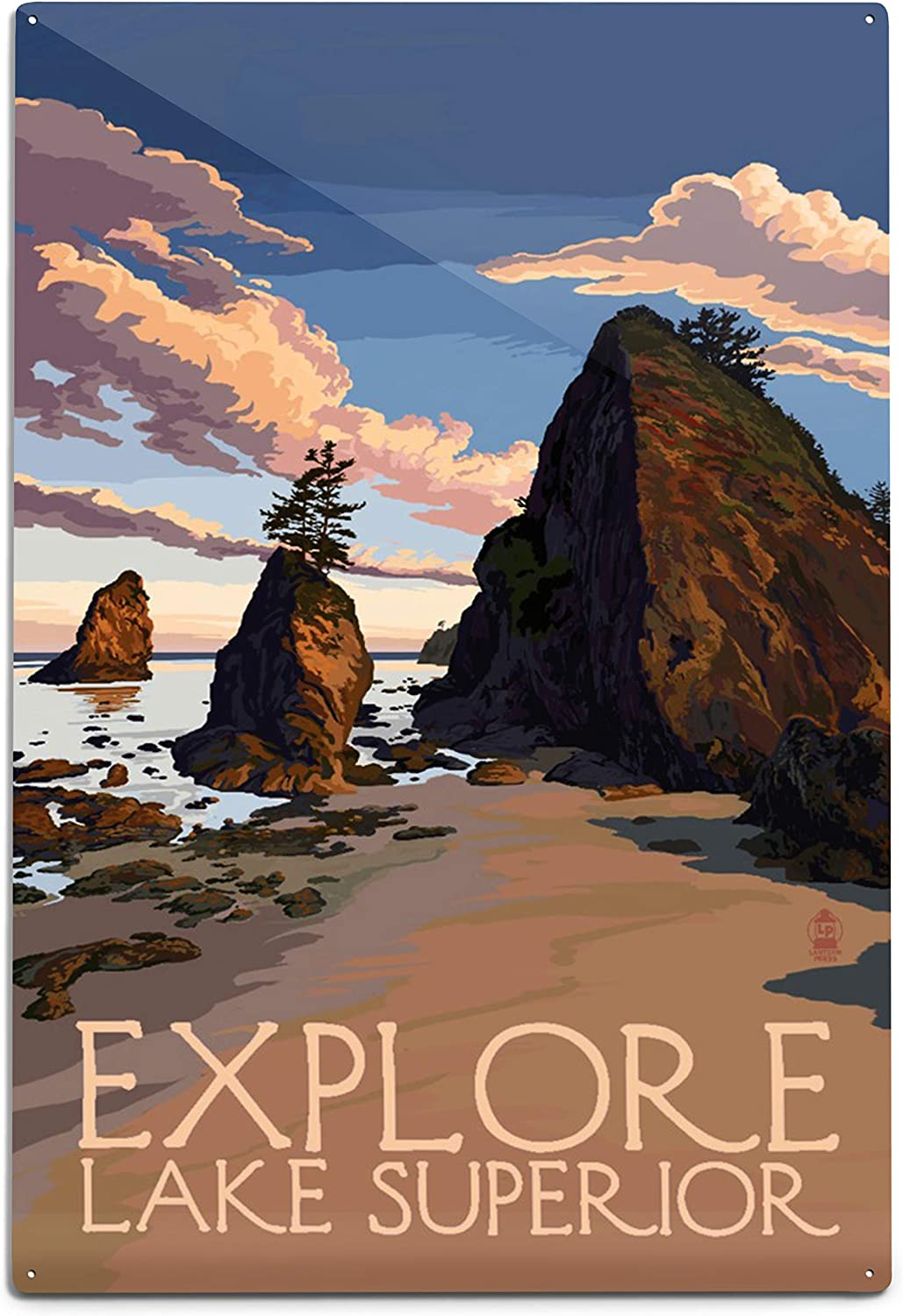 Explore Lake Superior - Rocky Shore 98539 (6x9 Aluminum Wall Sign, Wall Decor Ready to Hang)