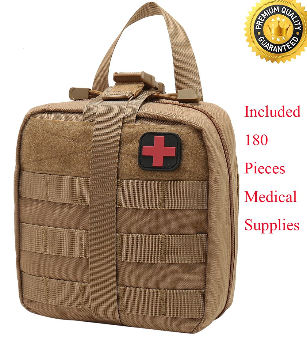 Carlebben Rip-Away EMT Pouch Molle Pouch Ifak Pouch Medical First Aid Kit Utility Pouch 1000D Nylon (with Medical Supplies Tan)