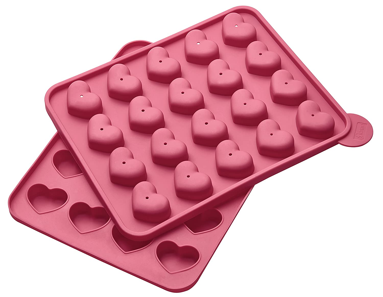 Lurch FlexiForm Cake Pops Herz 20fach Silikon pink 20 x 24 x 3.7 cm