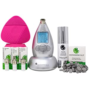 Microderm GLO Complete Skincare Package Includes Diamond Microdermabrasion System, Premium, Fine, Massage Tips, 10mm Filters 100 pack, Peptide Complex Serum & Sonic Facial Cleansing Brush (Silver)