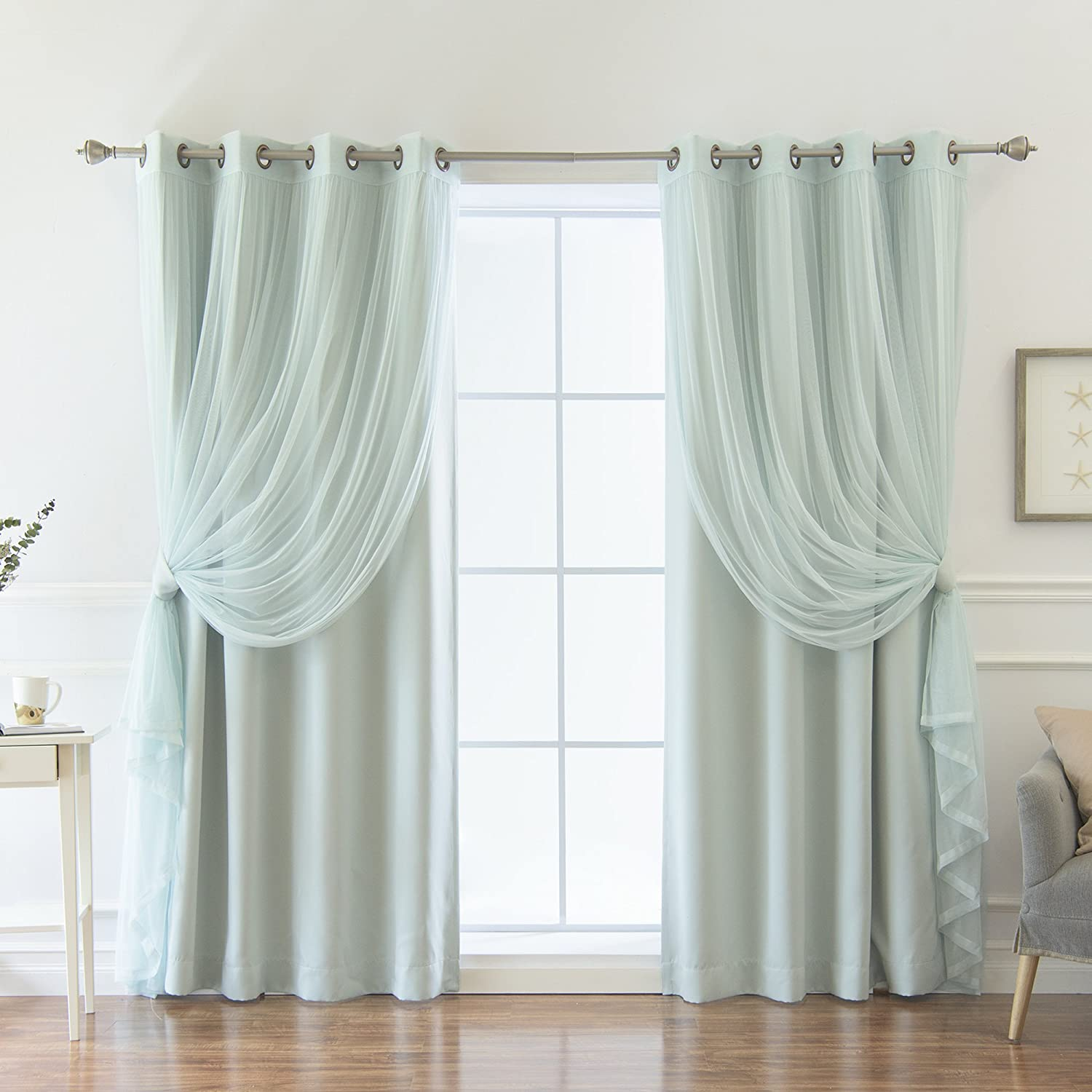 Best Home Fashion uMIXm Colored Tulle & Blackout Curtains - Mint - 52