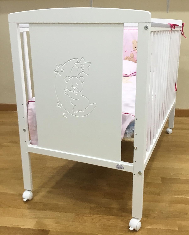 Cuna para bebé, modelo Oso Dormilón + Colchón Viscoelástica + edredón y chichonera Rosa (caja musical de regalo)