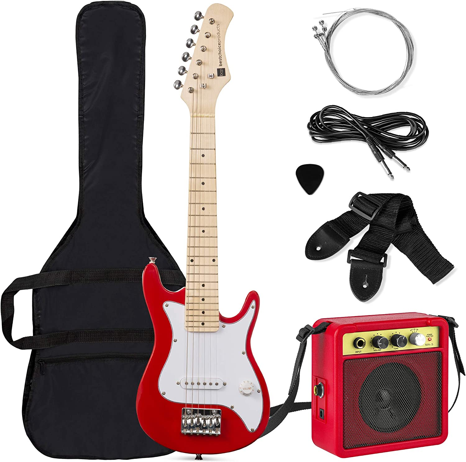 Best Choice Products 30in Kids Electric Guitar Beginner Starter Kit with 5W Amplifier, Strap, Case, Strings, Picks – Red