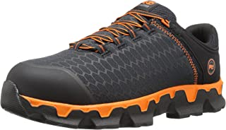 Timberland PRO Men's Powertrain Sport Alloy Toe EH Industrial and Construction Shoe, Black Synthetic/Orange, 9 W US