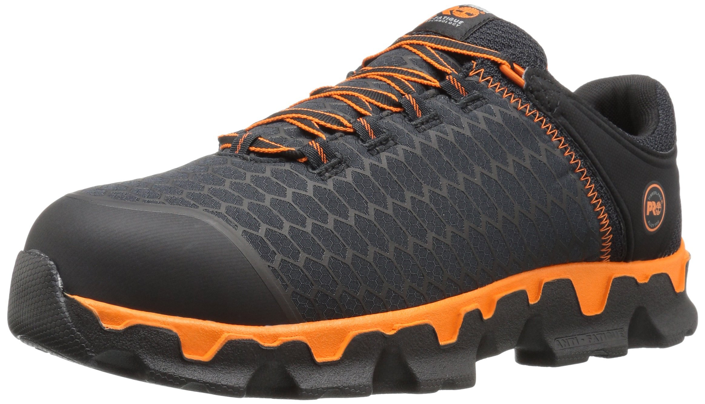 Timberland PRO Men's Powertrain Sport Alloy Toe EH Industrial and Construction Shoe, Black Synthetic/Orange, 10.5 M US