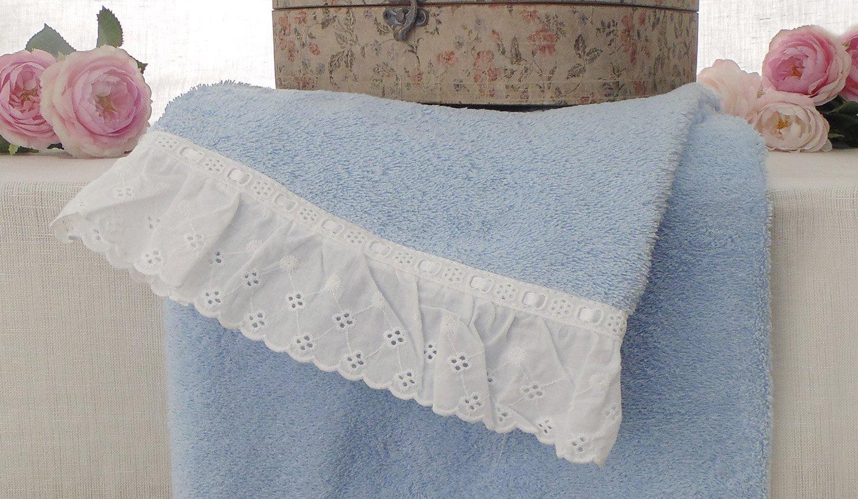 Bagno Shabby Chic Azzurro : At17 coppia di asciugamani shabby chic joie san gallo collection