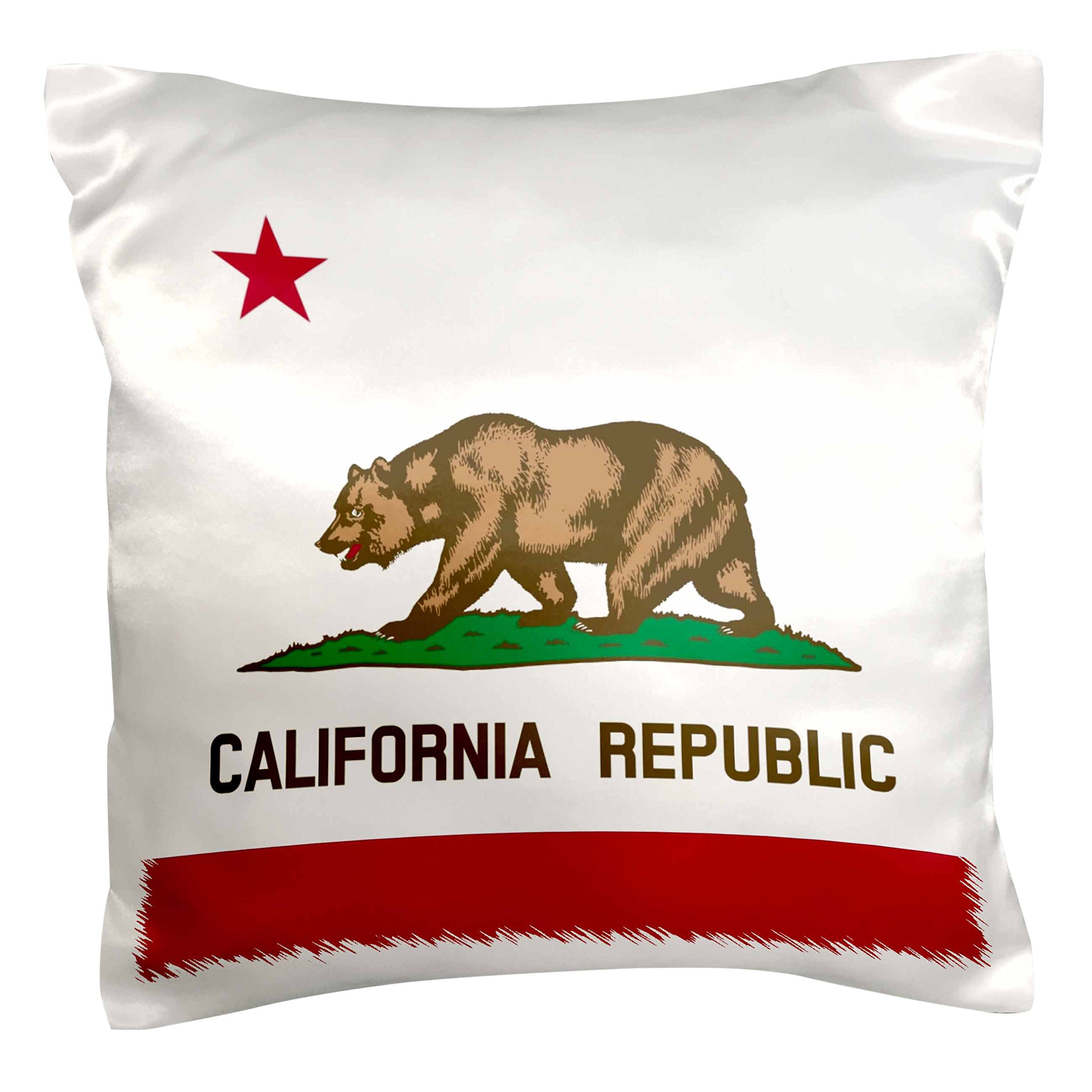 3dRose pc_158295_1 Flag Of California Republic Us American State United States Of America The Bear Flag White Red Pillow Case, 16'' x 16''