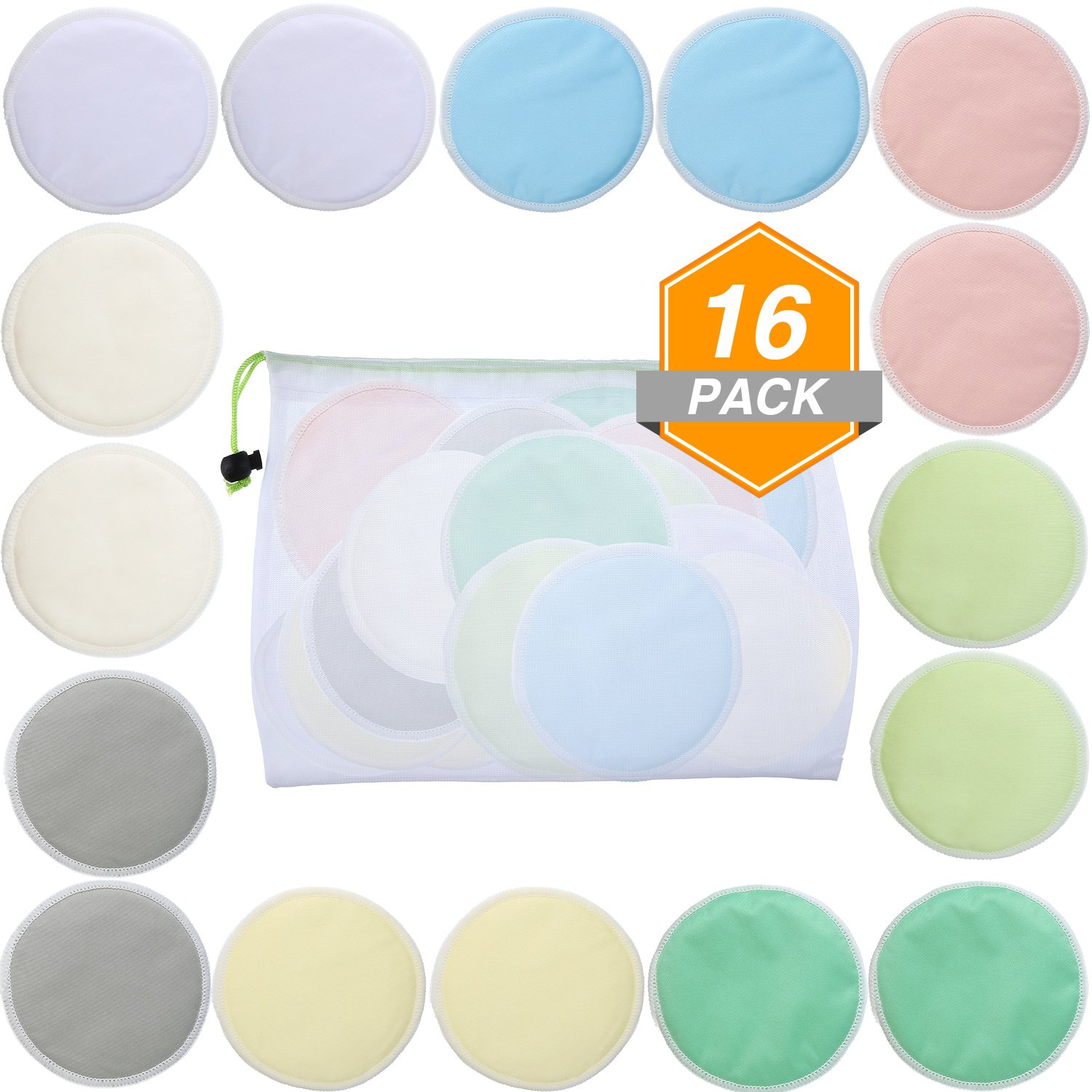 Gejoy 16 Pieces Bamboo Makeup Remover Pads Soft Face Clean Pads Facial Clean Skin Care Wash Cloth Pad with Mesh Bag, Assorted Colors
