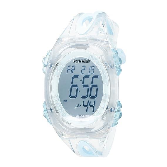 Speedo 50 lap - Reloj digital de cuarzo para mujer con correa de goma azul (