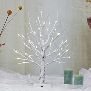 """Brightdeco Lighted Birch Tree 18"""" H 36 LED Artificial Bonsai Lamp Money Tree for Indoor Use Great Décor for Home Bedroom Halloween Thanksgiving Christmas Easter Wedding Party Warm White"""