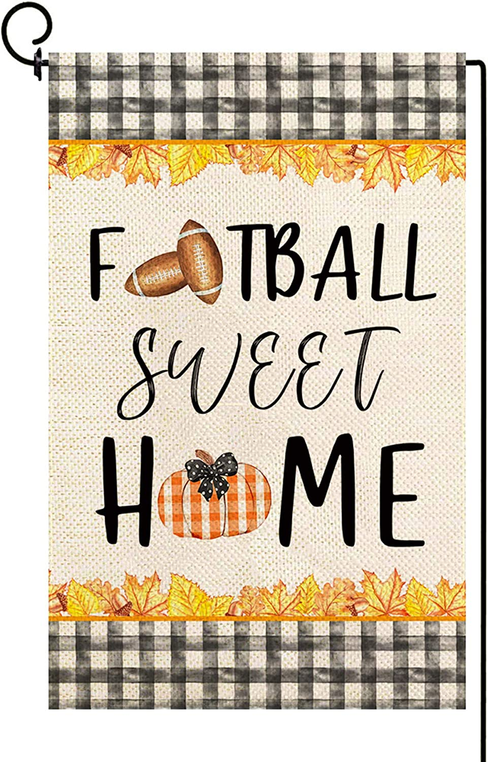 Baccessor Fall Garden Flag Football Sweet Home Autumn Small Yard Flag Vertical Double Sided Burlap Vintage Rustic Farmhouse House Home Lawn Outside Decoration 12.5 x 18 Inch