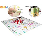 Vic Kid® Baby Play Mat/Crawling Mat/Foldable Extra Large Thick Foam/Double Sides Multi-Purpose Water Proof. Size: 6.45 X 5.8 Ft (± 1 Inch) / Color : Side A-Letter & Animals + Side B-Giraffe& Monkey