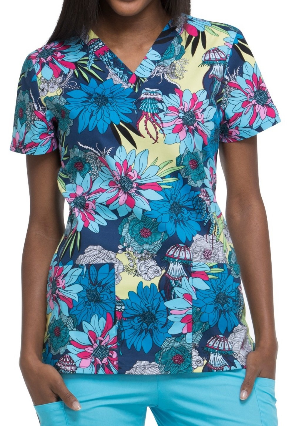 Dickies EDS Signature Women's V-Neck Floral Print Scrub Top Medium Print
