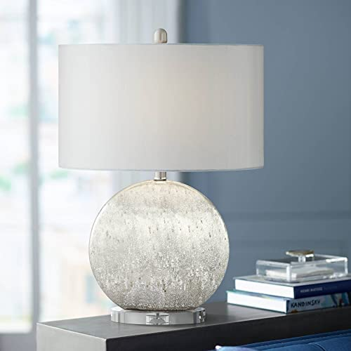 Barkley Modern Table Lamp Silver Faux Stone Sphere White Oval Shade for Living Room Bedroom Bedside Nightstand Office Family – Possini Euro Design