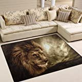 """ALAZA Fierce Lion Against Stormy Sky Area Rug for Living Room Bedroom 5'3""""x4'"""