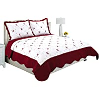 Beauty Sleep Bedding Embroidered 3 Pieces Luxury Reversible Quilt Set with 2 Quilted Shams, Burgundy Color, King Size