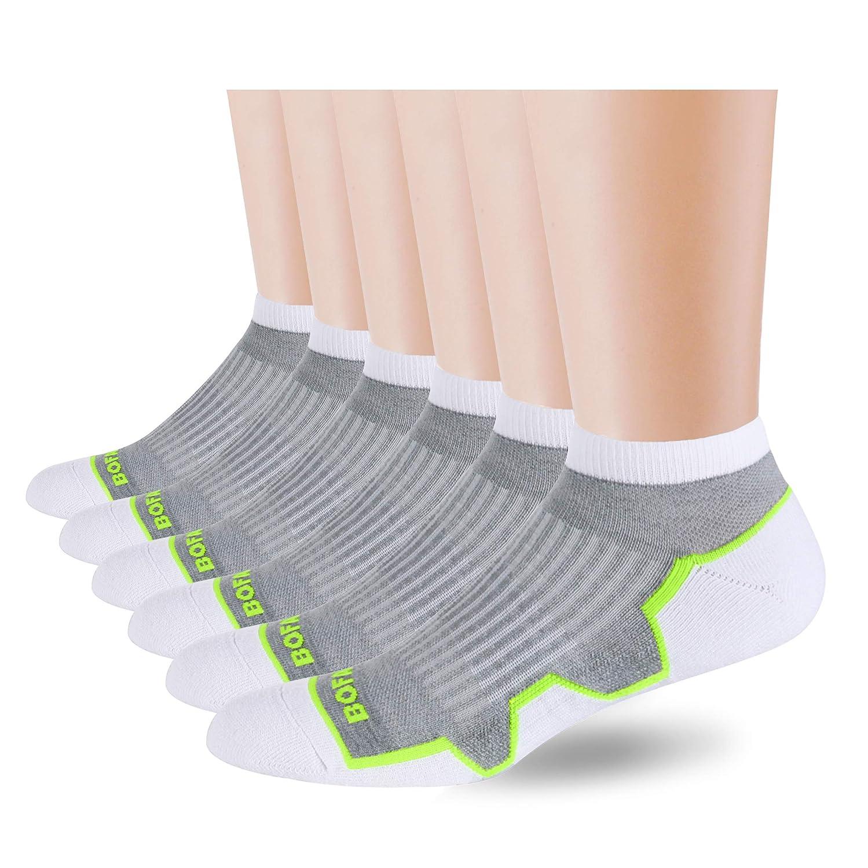 White Medium(1013) BOFAHU Men's Ankle 6Pack Breathable Performance Athletic Cushion Low Cut Socks
