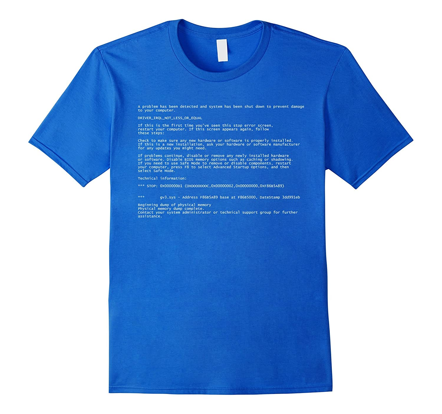 Blue Screen Of Death Funny Last minute Halloween Costume Tee-FL