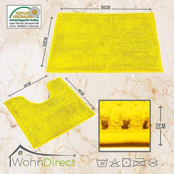 Juego de 2 o 3 piezas de alfombras de baño de WohnDirect, de 45 x 45 cm. Antideslizantes y lavables, mullidas y suaves. Diseño moderno, amarillo, 50x80cm + ...