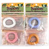 4 Pk. Colorful BUGABLES Bug Insect Mosquito Repellent Repelling Spiral Bracelet Wristband Ankle Band. DEET FREE Non-Toxic. Citronella + Reusable For Up to 200 Hours.