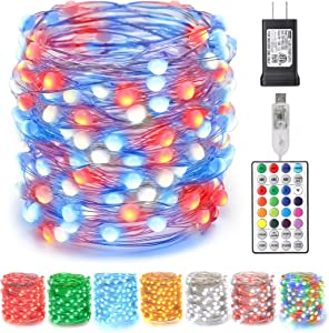 Brizled Upgrade Fairy Lights Color Changing, 66ft 200 LED Fairy String Lights 4th of July, Unique Dual/Triple Colors USB + Adapter Plugin Red White Blue Fairy Lights with Remote for Independence Day