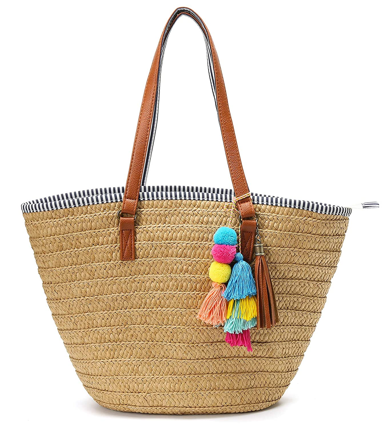 Epsion Straw Beach Bags Tote Tassels Bag Hobo Summer Handwoven Shoulder Bags Purse With Pom Poms