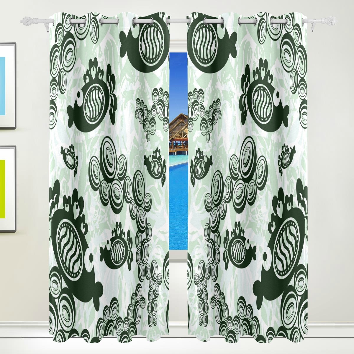 Vantaso Light Shading Window Curtains Abstract Black Fishes Spit Bubbles Polyester 2 Pannels for Kids Girls Boys Bedroom Living Room 84 inch x 55 inch